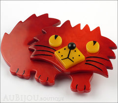 Marie-Christine Pavone Brooch Cat Rocky Red Yellow Galalith Side