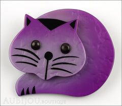 Marie-Christine Pavone Brooch Cat Roudoudou Purple Galalith Front