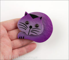 Marie-Christine Pavone Brooch Cat Roudoudou Purple Galalith Model