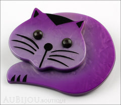 Marie-Christine Pavone Brooch Cat Roudoudou Purple Galalith Side