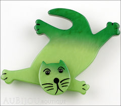 Marie-Christine Pavone Brooch Cat Serpolet Green Galalith Paris France Front