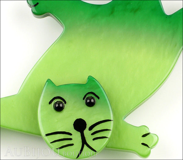 Marie-Christine Pavone Brooch Cat Serpolet Green Galalith Paris France Gallery