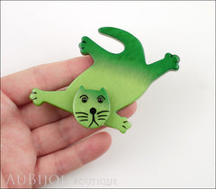 Marie-Christine Pavone Brooch Cat Serpolet Green Galalith Paris France Model