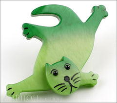 Marie-Christine Pavone Brooch Cat Serpolet Green Galalith Paris France Side
