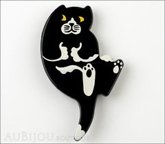 Marie-Christine Pavone Brooch Cat Sitting Black White Galalith Front