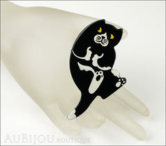 Marie-Christine Pavone Brooch Cat Sitting Black White Galalith Mannequin