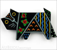 Marie-Christine Pavone Brooch Cat Tapestry Black Multicolor Galalith Limited Edition Front