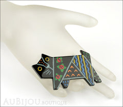Marie-Christine Pavone Brooch Cat Tapestry Black Multicolor Galalith Limited Edition Mannequin