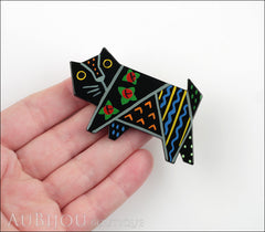 Marie-Christine Pavone Brooch Cat Tapestry Black Multicolor Galalith Limited Edition Model