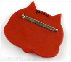 Marie-Christine Pavone Brooch Cat Tete Ginger Galalith Back