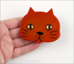Marie-Christine Pavone Brooch Cat Tete Ginger Galalith Model