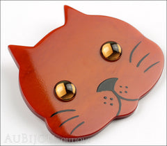 Marie-Christine Pavone Brooch Cat Tete Ginger Galalith Side
