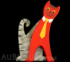Marie-Christine Pavone Brooch Cat With Tie Grey Red Galalith Paris France Black