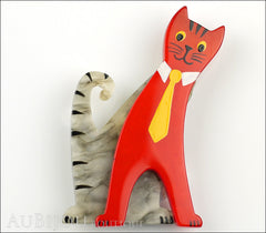 Marie-Christine Pavone Brooch Cat With Tie Grey Red Galalith Paris France Front
