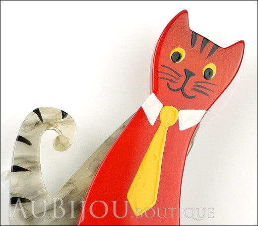 Marie-Christine Pavone Brooch Cat With Tie Grey Red Galalith Paris France Gallery