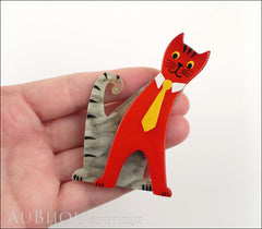 Marie-Christine Pavone Brooch Cat With Tie Grey Red Galalith Paris France Model