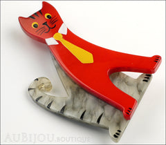 Marie-Christine Pavone Brooch Cat With Tie Grey Red Galalith Paris France Side