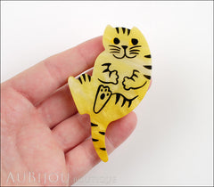 Marie-Christine Pavone Brooch Cat Yellow Galalith Model