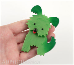 Marie-Christine Pavone Brooch Dog Bobby Green Galalith Paris France Model