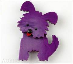 Marie-Christine Pavone Brooch Dog Bobby Purple Galalith Front