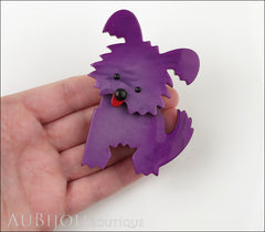 Marie-Christine Pavone Brooch Dog Bobby Purple Galalith Model