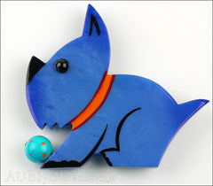 Marie-Christine Pavone Brooch Dog Lulu Blue Galalith Paris France Front