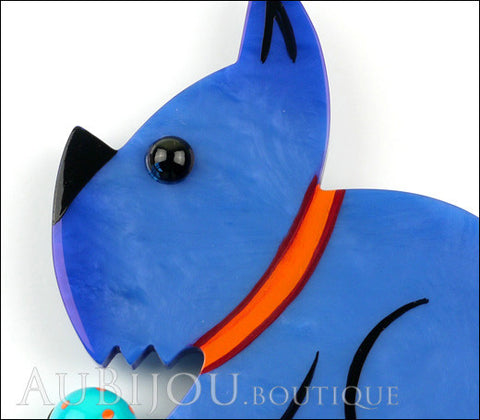 Marie-Christine Pavone Brooch Dog Lulu Blue Galalith Paris France Gallery