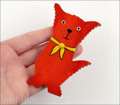 Marie-Christine Pavone Brooch Dog Scout Red Galalith Paris France Model