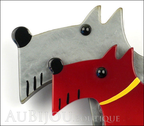 Marie-Christine Pavone Brooch Double Dog Grey Red Galalith Paris France Gallery