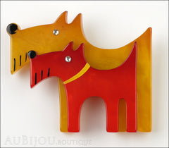 Marie-Christine Pavone Brooch Dog Double Yellow Red Galalith Front