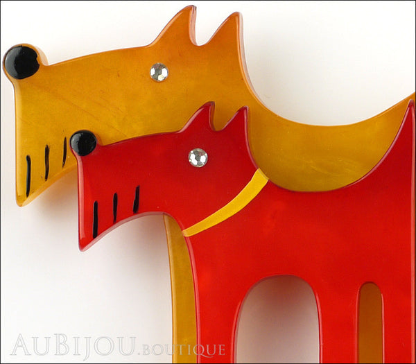 Marie-Christine Pavone Brooch Dog Double Yellow Red Galalith Gallery