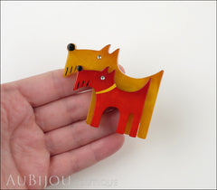 Marie-Christine Pavone Brooch Dog Double Yellow Red Galalith Model