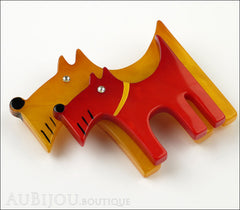 Marie-Christine Pavone Brooch Dog Double Yellow Red Galalith Side