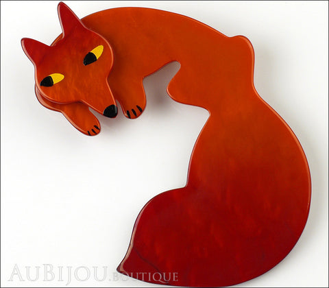 Marie-Christine Pavone Brooch Fox Dark Orange Galalith Gallery
