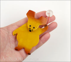 Marie-Christine Pavone Brooch Mouse With Balloon Yellow Galalith Paris France Model