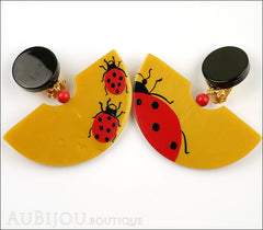 Marie-Christine Pavone Earrings Ladybug Yellow Red Galalith Front
