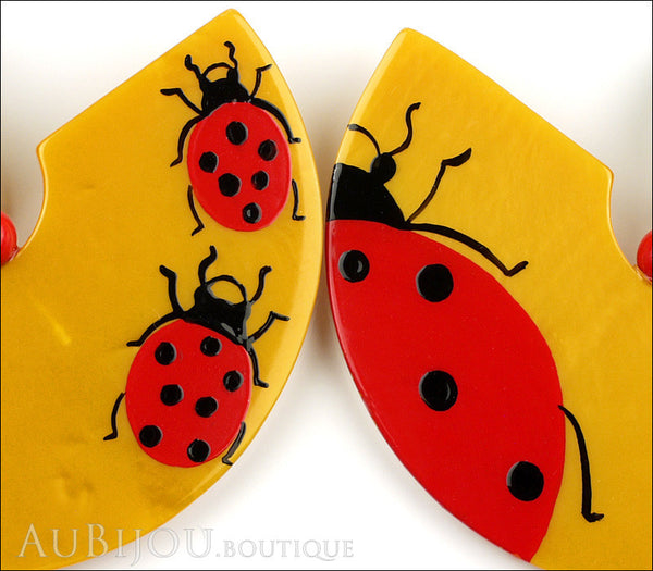 Marie-Christine Pavone Earrings Ladybug Yellow Red Galalith Gallery