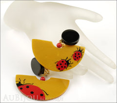 Marie-Christine Pavone Earrings Ladybug Yellow Red Galalith Mannequin