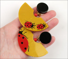 Marie-Christine Pavone Earrings Ladybug Yellow Red Galalith Model