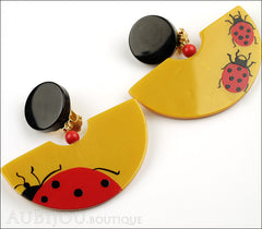 Marie-Christine Pavone Earrings Ladybug Yellow Red Galalith Side