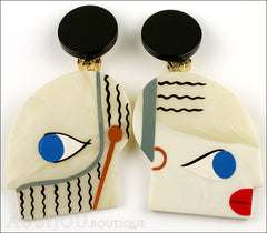 Marie-Christine Pavone Earrings Tribal Cream Black Galalith Front