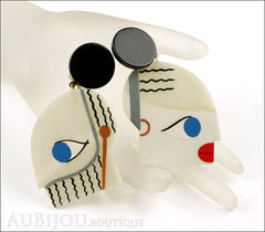 Marie-Christine Pavone Earrings Tribal Cream Black Galalith Mannequin