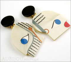 Marie-Christine Pavone Earrings Tribal Cream Black Galalith Side