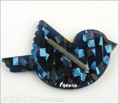 Marie-Christine Pavone Pin Brooch Bird Paloma Sparrow Blue Galalith Paris France Back