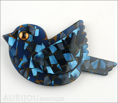 Marie-Christine Pavone Pin Brooch Bird Paloma Sparrow Blue Galalith Paris France Front
