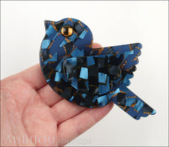 Marie-Christine Pavone Pin Brooch Bird Paloma Sparrow Blue Galalith Paris France Model