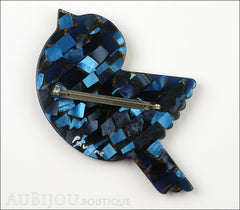 Marie-Christine Pavone Pin Brooch Bird Paloma Sparrow Blue Mosaic Galalith Back