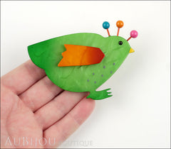 Marie-Christine Pavone Pin Brooch Bird Poule Hen Chicken Green Galalith Paris France Model