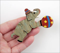 Marie-Christine Pavone Pin Brooch Circus Elephant Pearly Grey Galalith Model