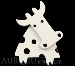 Marie-Christine Pavone Pin Brooch Cow Marguerite White Black Galalith Paris France Black